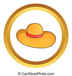 Womens beach hat vector icon in golden circle, cartoon style...