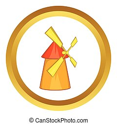 Windmill vector icon in golden circle, cartoon style...