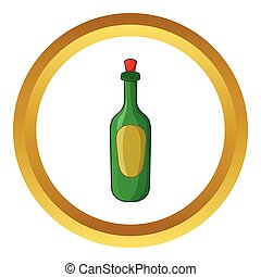Green bottle of wine vector icon