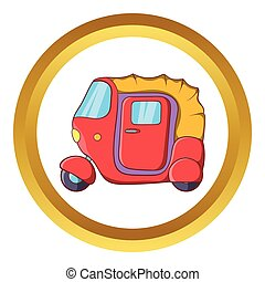 Auto rickshaw vector icon in golden circle, cartoon style...
