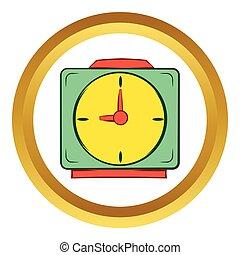 Colorful alarm clock vector icon, cartoon style