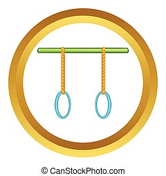 Athletic rings vector icon in golden circle, cartoon style...