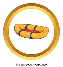 Inflatable boat vector icon in golden circle, cartoon style...