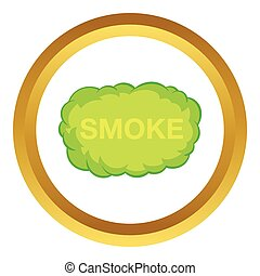 Smoke cloud vector icon in golden circle, cartoon style...