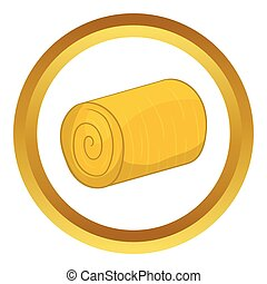 Haystack vector icon in golden circle, cartoon style...