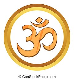Hindu Om symbol vector icon in golden circle, cartoon style...
