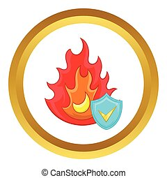 Fire and sky blue shield with tick vector icon in golden...