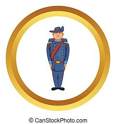 Man in army uniform 19th century vector icon - Man in a blue...