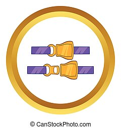 Aviation seat belt vector icon in golden circle, cartoon...