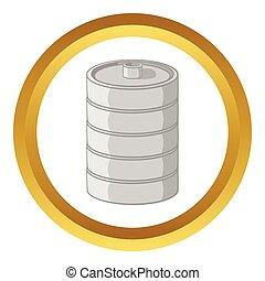 Aluminum barrel for beer vector icon