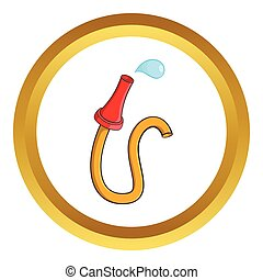 Fire hose vector icon in golden circle, cartoon style...