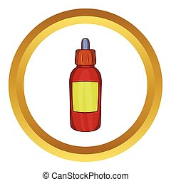Refill bottle with pipette vector icon in golden circle,...