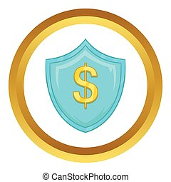 Dollar sign on blue shield with tick vector icon