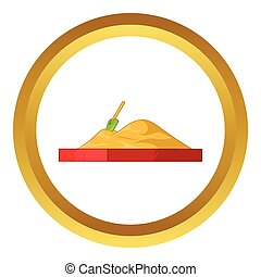 Children sandpit vector icon in golden circle, cartoon style...