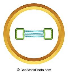 Spring expander vector icon in golden circle, cartoon style...