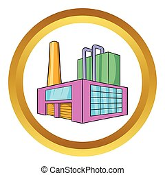 Large brewery vector icon in golden circle, cartoon style...