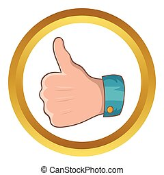 Thumb up gesture vector icon in golden circle, cartoon style...