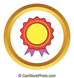 Award rosette with violet ribbon vector icon in golden...