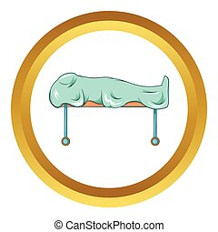 Dead on gurney vector icon in golden circle, cartoon style...