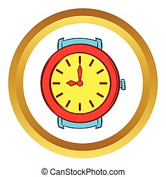 Red wrist watch vector icon, cartoon style - Red wrist watch...