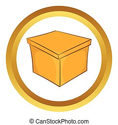 Square box vector icon in golden circle, cartoon style...