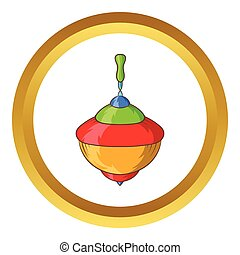 Whirligig vector icon in golden circle, cartoon style...