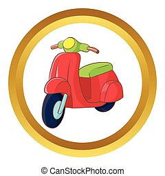 Red scooter vector icon in golden circle, cartoon style...