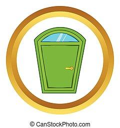 Green arched door vector icon, cartoon style
