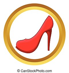Red high heel shoe vector icon