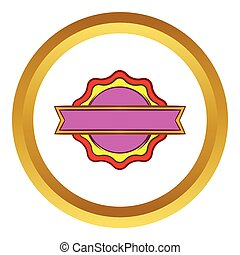 Award rosette with ribbon vector icon in golden circle,...