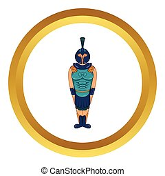 Ancient Egyptian warrior vector icon in golden circle,...