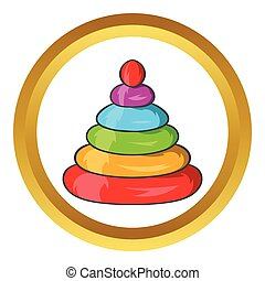 Toy pyramid vector icon in golden circle, cartoon style...