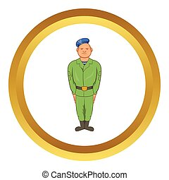 Man in green army uniform vector icon - Man in green army...