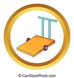 Baggage trolley vector icon