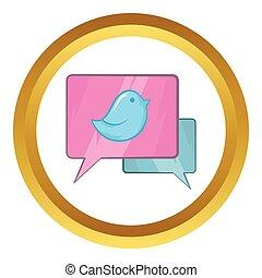 Bird on a speech bubble vector icon