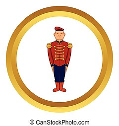 Man wearing army uniform 19th century vector icon in golden...