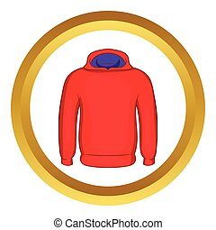Mens winter sweatshirt vector icon in golden circle, cartoon...