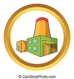 Brewery vector icon in golden circle, cartoon style isolated...