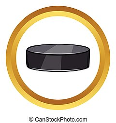 Hockey puck vector icon, cartoon style