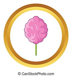 Pink cotton candy vector icon in golden circle, cartoon...