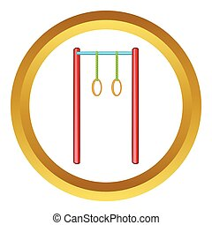 Horizontal bar with rings vector icon in golden circle,...