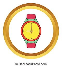 Wrist watch vector icon, cartoon style - Wrist watch vector...