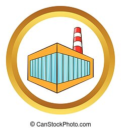 Beer bottling building vector icon in golden circle, cartoon...