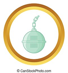 Steel strainer vector icon in golden circle, cartoon style...