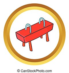 Pommel horse vector icon in golden circle, cartoon style...