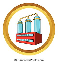 Wort preparation vector icon in golden circle, cartoon style...