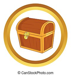 Wooden dower chest vector icon in golden circle, cartoon...