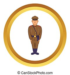 A man in army uniform vector icon in golden circle, cartoon...