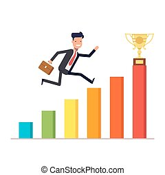 Businessman or manager with briefcase jumping up on a schedule to the prize cup. Diagram of revenue growth. Vector, illustration EPS10.