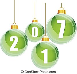 Green christmas balls with the numbers of new year 2017